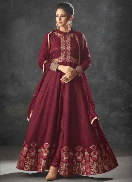 Raw Silk Embroidered Work Trendy Designer Salwar Kameez