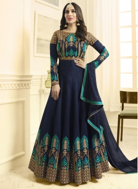 Raw Silk Trendy Anarkali Salwar Kameez For Festival
