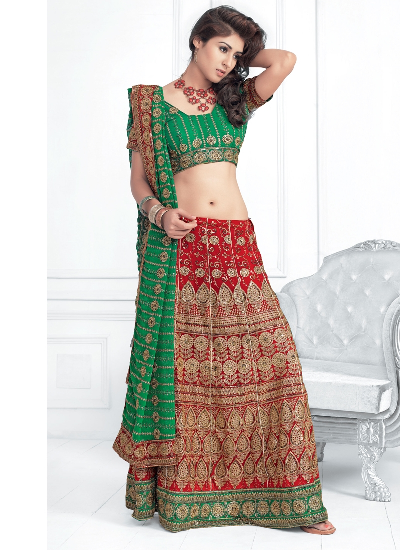Red And Green Party Wear Lehenga Choli