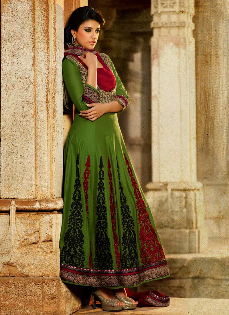 Red And Olive Color Cotton Anarkali Salwar Suit