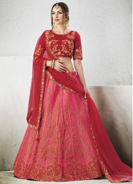Red and Rose Pink A - Line Lehenga