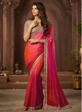 Red and Rose Pink Chiffon Satin Contemporary Style Saree
