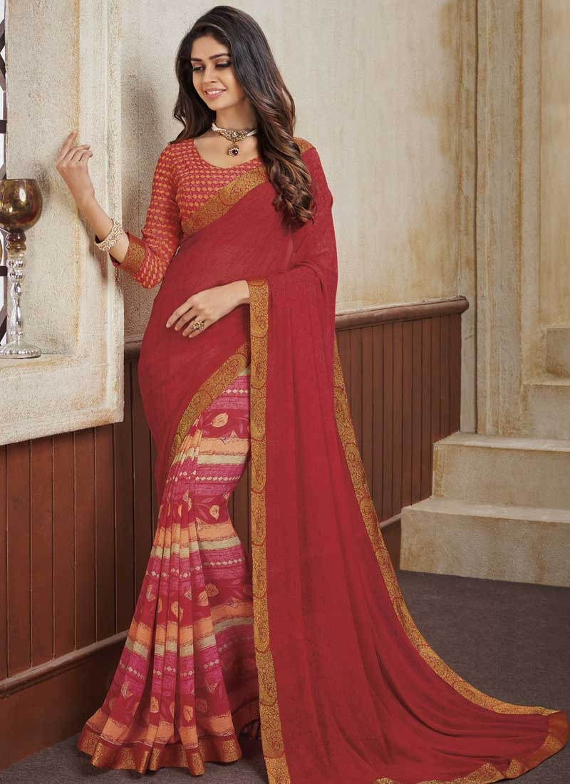 Red and Rose Pink Digital Print Work Half N Half Designer Saree
