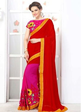 Red and Rose Pink Embroidered Work Trendy Classic Saree