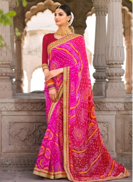Red and Rose Pink Faux Georgette Contemporary Style Saree