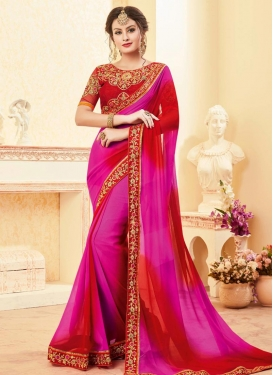 Red and Rose Pink Faux Georgette Trendy Saree For Festival