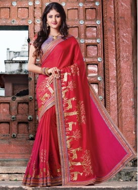 Red and Rose Pink Lace Work Classic Saree