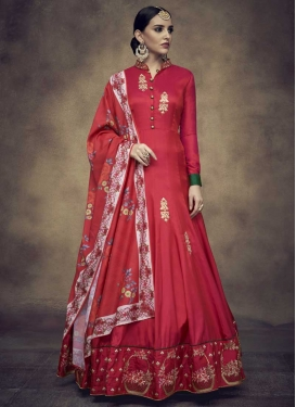 Red and Rose Pink Satin Silk Readymade Classic Gown For Ceremonial