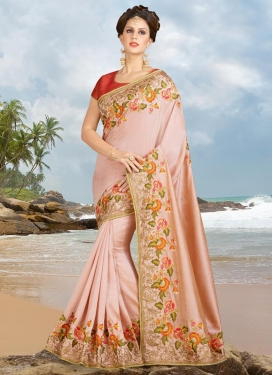 Red and Salmon Aari Work Contemporary Style Saree