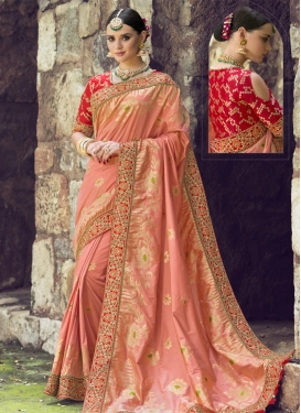 Red and Salmon Banarasi Silk Classic Saree