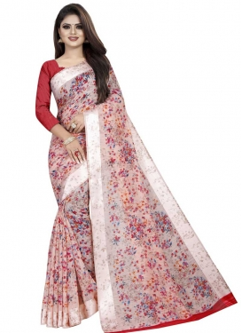 Red and Salmon Digital Print Work Trendy Classic Saree