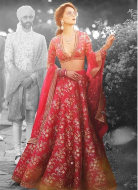 Red and Salmon Embroidered Work Lehenga Choli