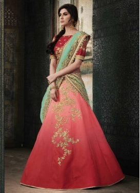 Red and Salmon Embroidered Work Trendy A Line Lehenga Choli