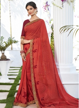 Red and Salmon Faux Georgette Traditional Saree