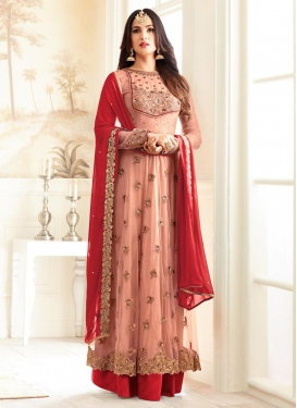 Red and Salmon Floor Length Designer Salwar Suit