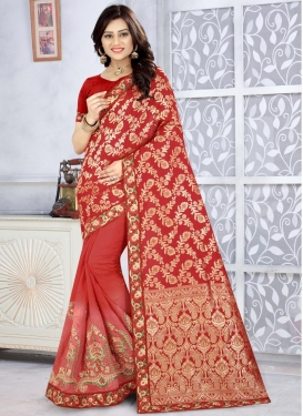 Red and Salmon Traditional Saree