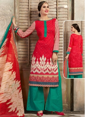 Red and Sea Green Digital Print Work Designer Palazzo Salwar Kameez