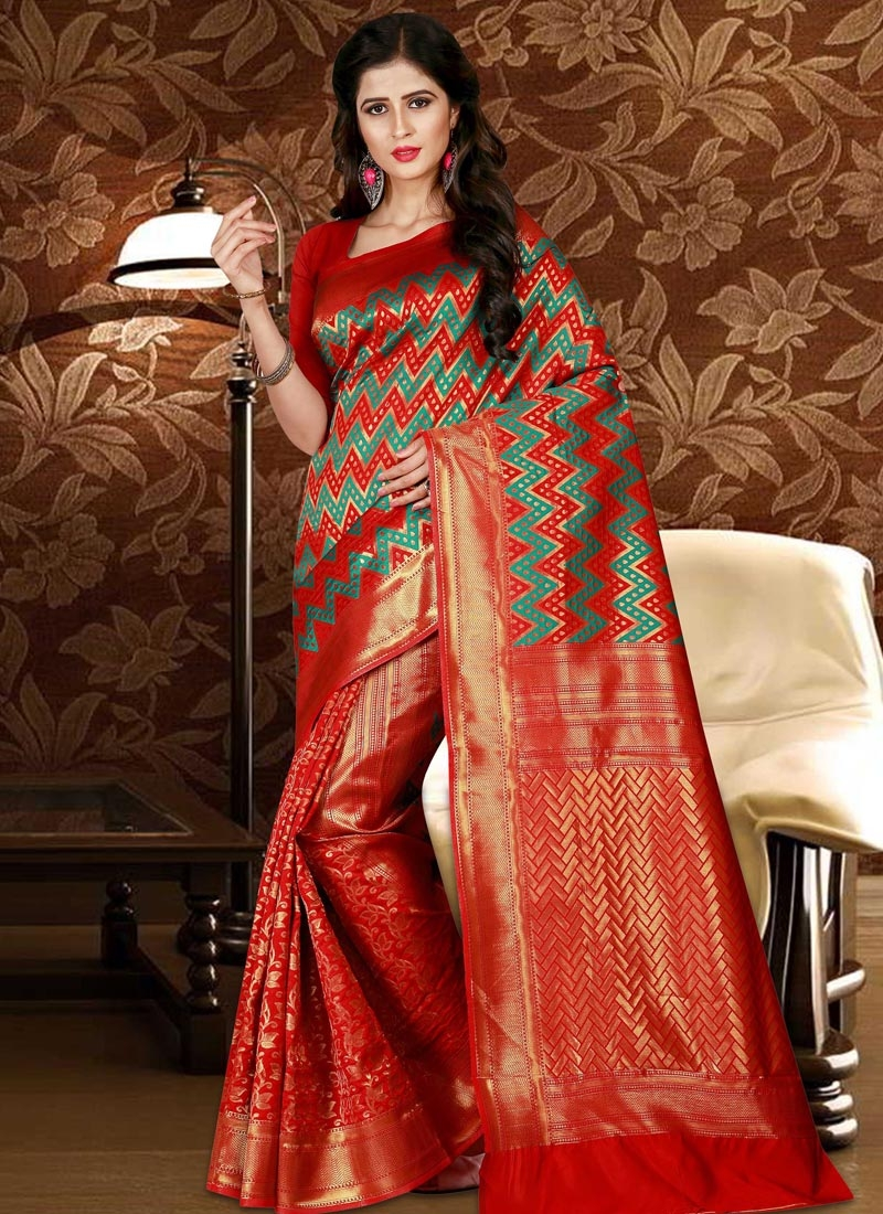 Red and Sea Green Patola Silk Trendy Classic Saree