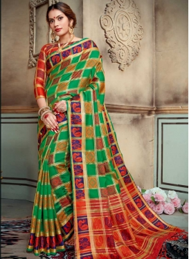 Red and Sea Green Thread Work Designer Contemporary Style Saree