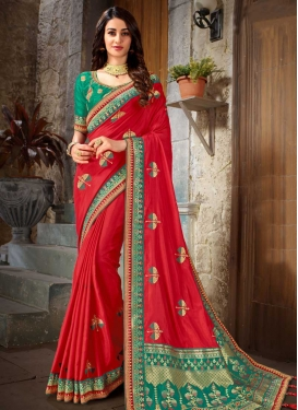 Red and Sea Green Trendy Saree For Festival