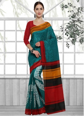 Red and Teal  Contemporary Saree