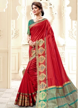 Red and Teal Cotton Silk Traditional Saree