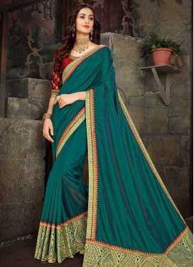 Red and Teal Embroidered Work Contemporary Saree