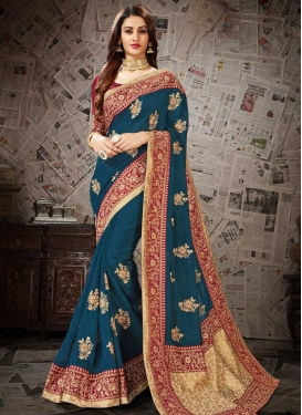 Red and Teal Embroidered Work Contemporary Style Saree