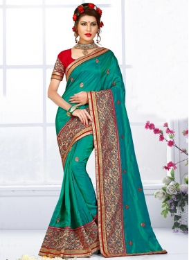 Red and Teal Silk Trendy Classic Saree