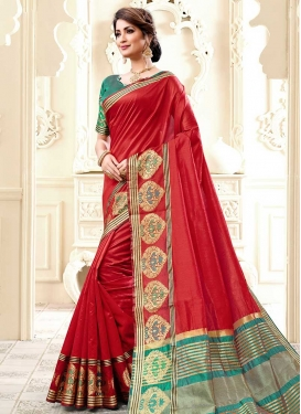 Red and Teal Thread Work Contemporary Style Saree