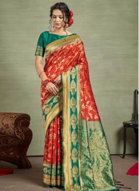 Red and Teal Trendy Saree