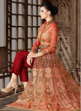 Red and Tomato Net Pant Style Designer Salwar Suit