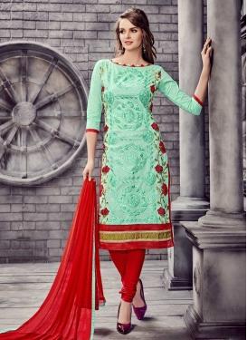 Red and Turquoise Cotton Churidar Salwar Kameez