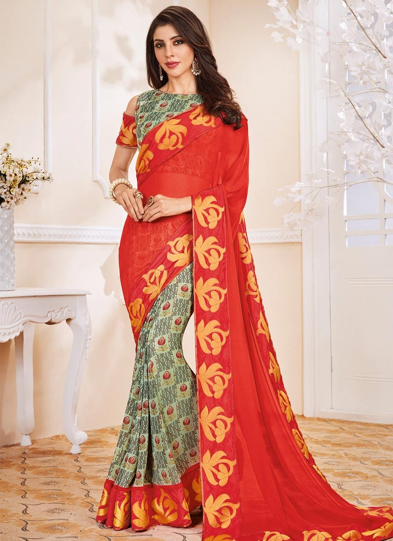 Red and Turquoise Designer Half N Half Saree For Casual