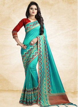 Red and Turquoise Embroidered Work Trendy Saree