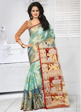 Red and Turquoise Tissue Contemporary Style Saree