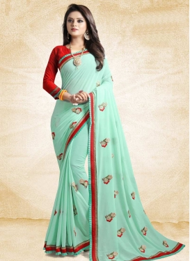 Red and Turquoise Traditional Saree
