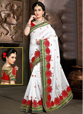 Red and White Bhagalpuri Silk Trendy Designer Saree