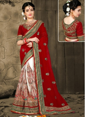 Red and White Booti Work Half N Half Trendy Saree