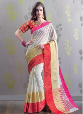 Red and White Contemporary Style Saree