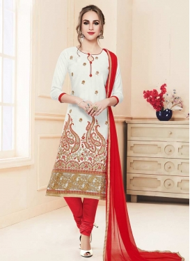 Red and White Embroidered Work Trendy Churidar Salwar Kameez
