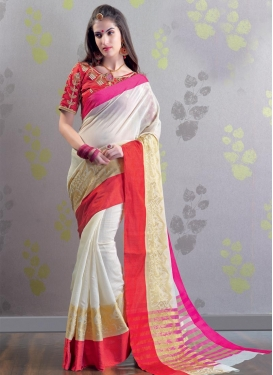 Red and White Embroidered Work Trendy Saree