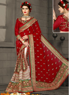 Red and White Half N Half Designer Saree