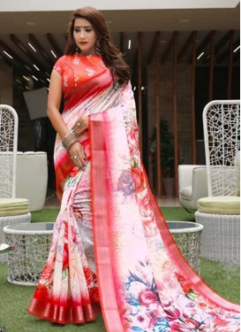 Red and White Linen Traditional Designer Saree