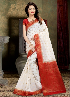 Red and White Thread Work Classic Saree