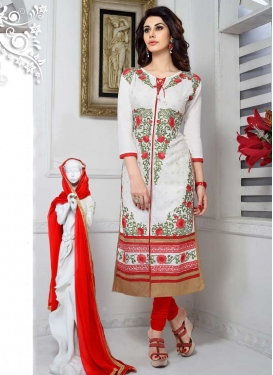 Red and White Trendy Salwar Kameez For Ceremonial