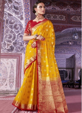 Red and Yellow Art Silk Trendy Classic Saree For Ceremonial
