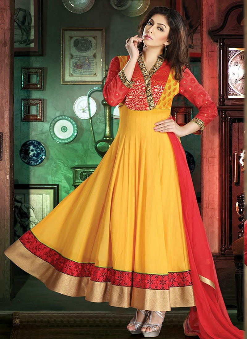 Red And Yellow Color Readymade Salwar Suit