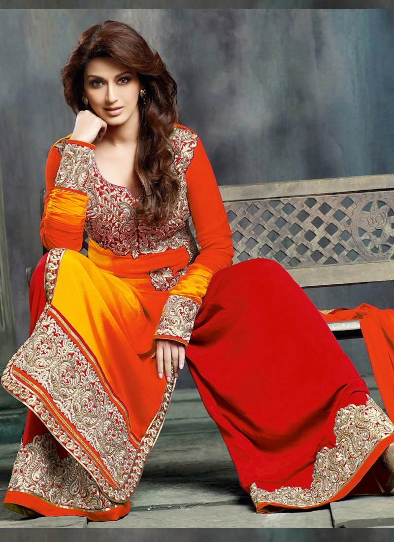 Red And Yellow Color Sonali Bendre Bollywood Suit