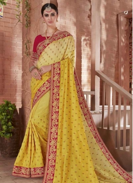 Red and Yellow Embroidered Work Art Silk Trendy Saree